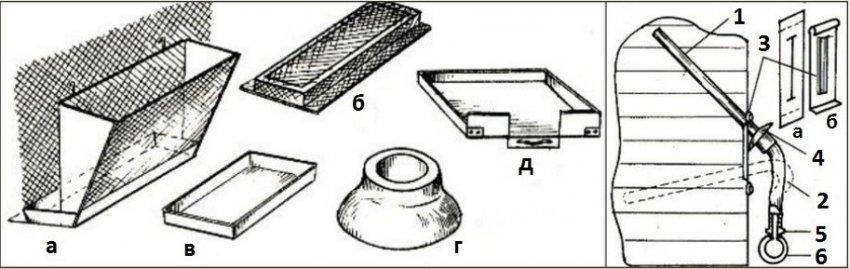 Схемы кормушки и поилки для нутрий