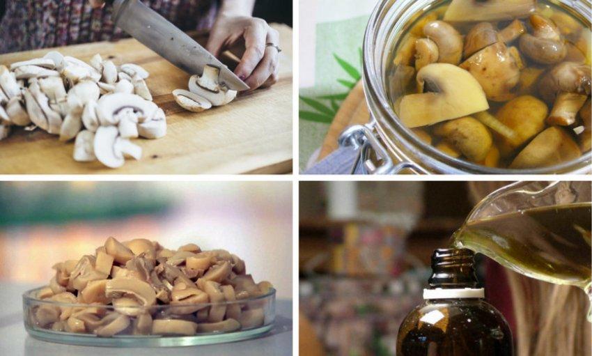 Приготовление масляной вытяжки из шампиньонов