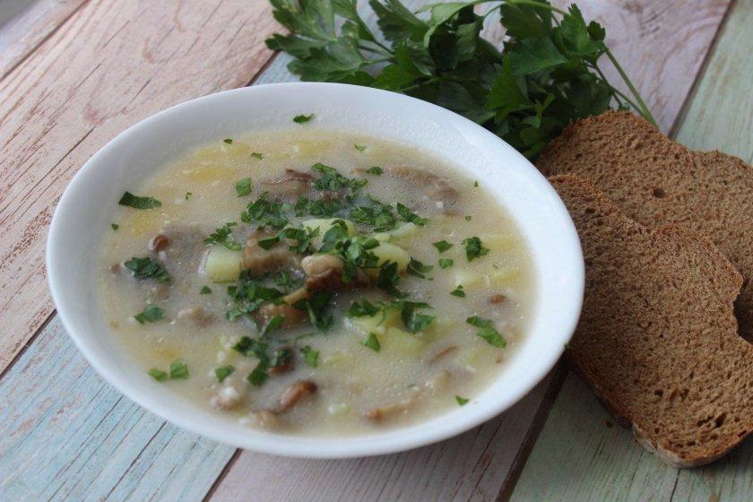 Суп из вешенок и плавленным сырком