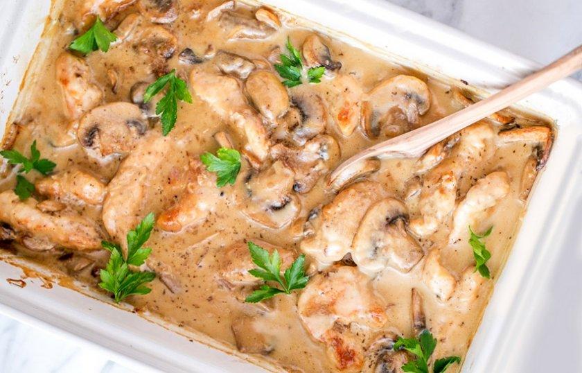 Куриная грудка с сыром и грибами