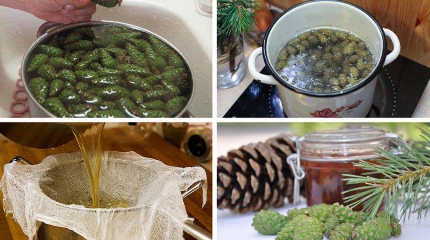 Приготовление отвара из зелёных сосновых шишек
