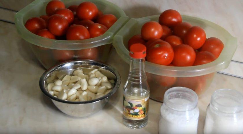 Ингредиенты для рецепта томатов вснегу