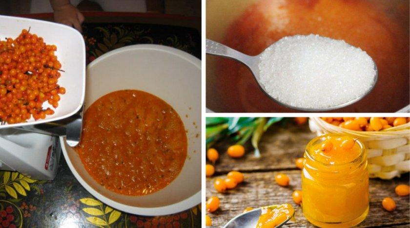 Приготовление облепихи с сахаром без варки