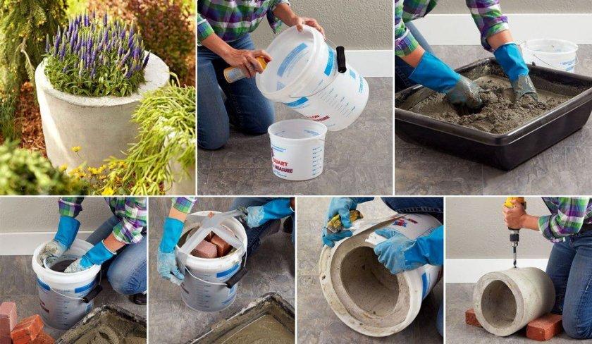 Горшок для уличного вазона из бетона