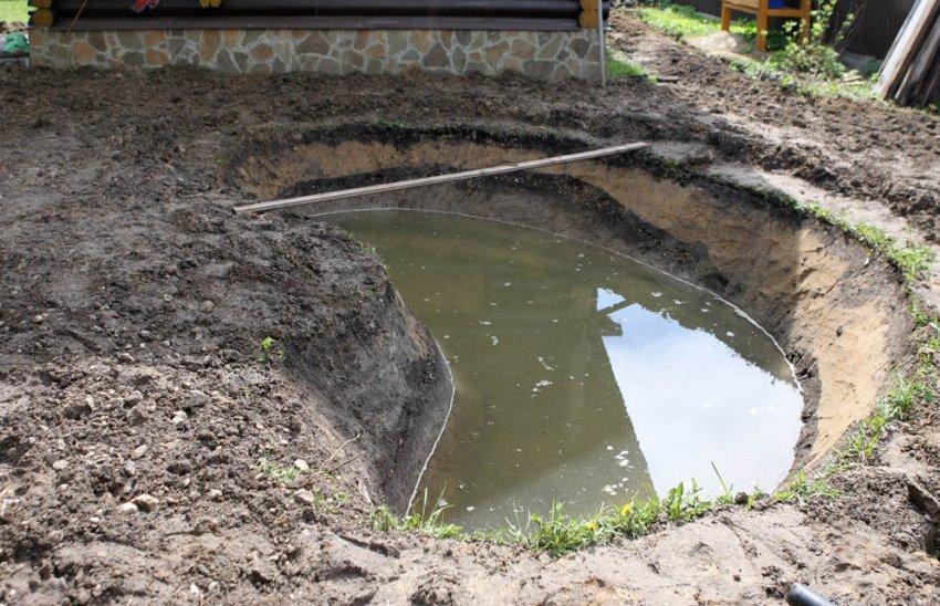 Пруд на участке с вісоким залеганием грунтовых вод