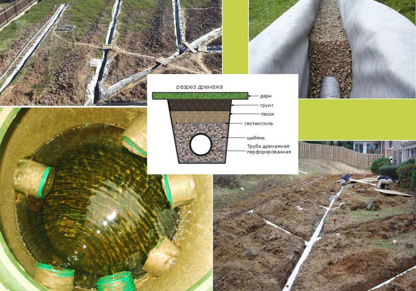 Дренажная система при высоком залегании грунтовых вод
