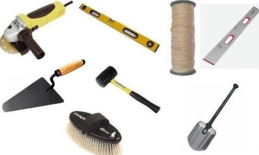 Инструменты для укладки пошаговой дорожки
