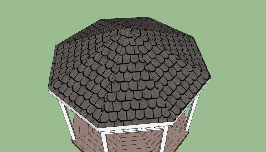 Крыша беседки из мягкой черепицы
