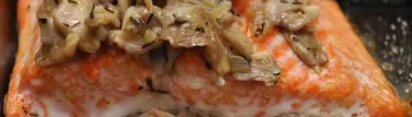 Горбуша с грибами в духовке