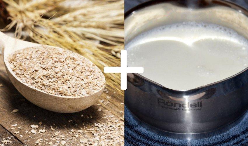 Приготовление молочной каши на отрубях
