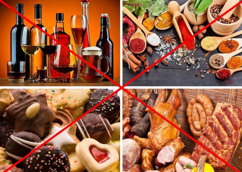 Запрещённые продукты во время диеты