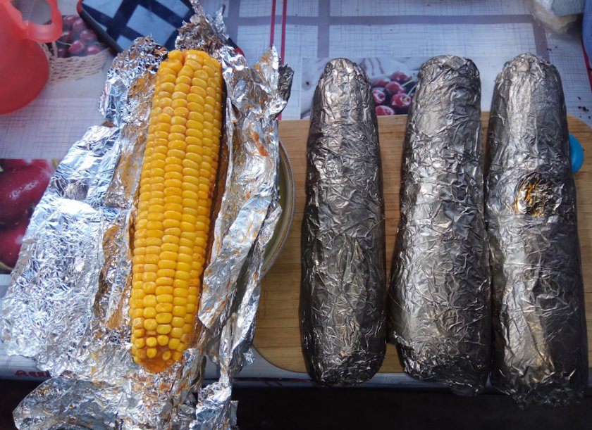 Хранение варёной кукурузы в фольге