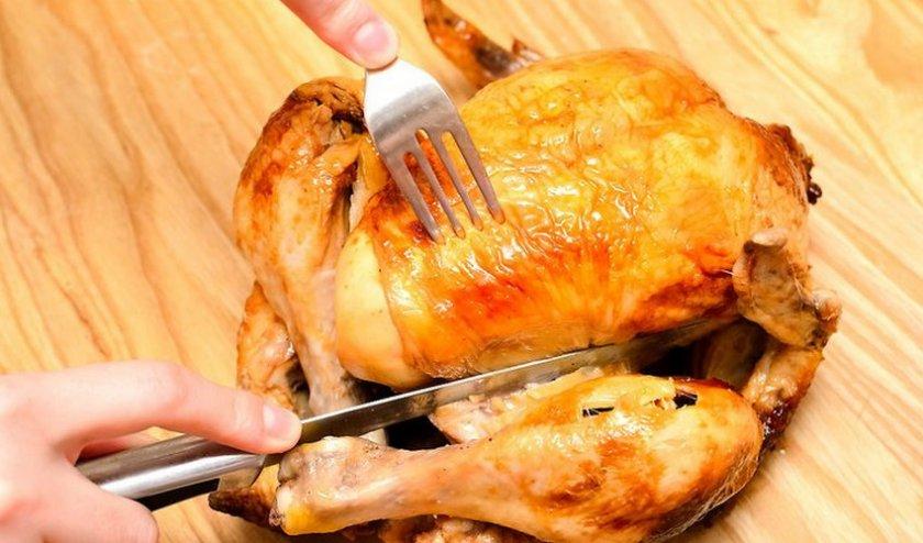 Разделка жареной курицы