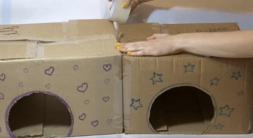 Склеиваем коробки вместе