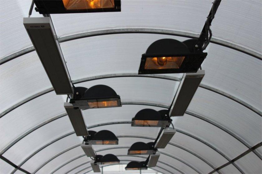 Обогрев промышленной теплицы инфракрасными лампами