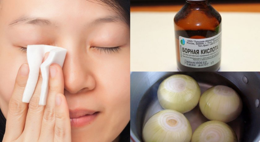 Промывание глаз средством из лука