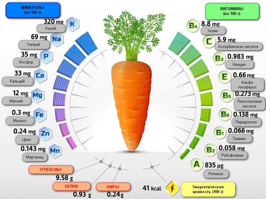 Витамино-минеральный состав моркови