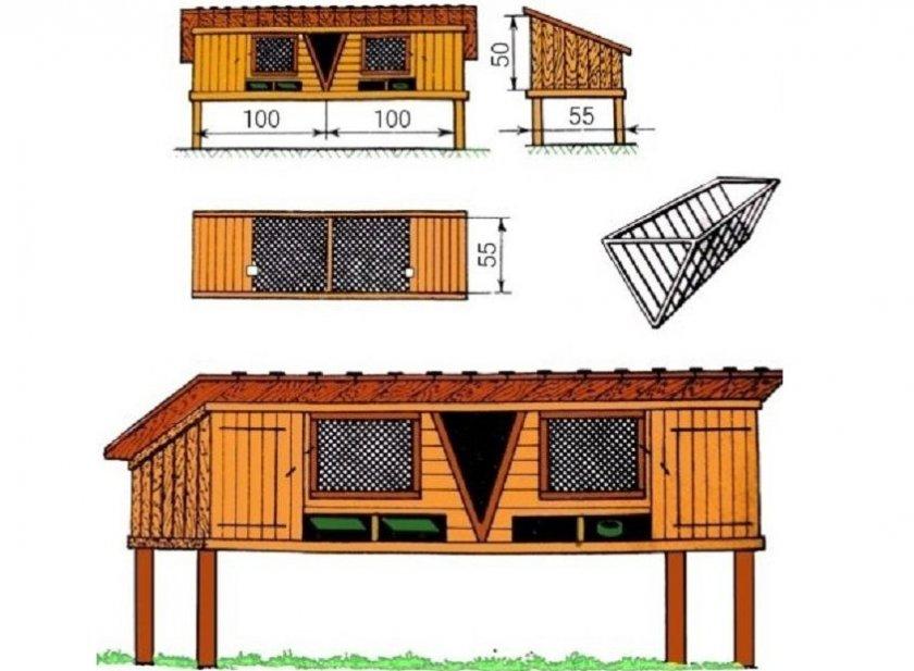 Двухсекционная деревянная постройка