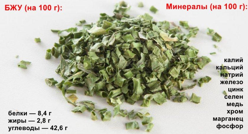 Химический состав высушенных перьев зелёного лука