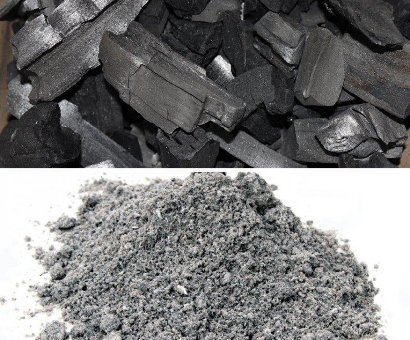 Древесный уголь и зола