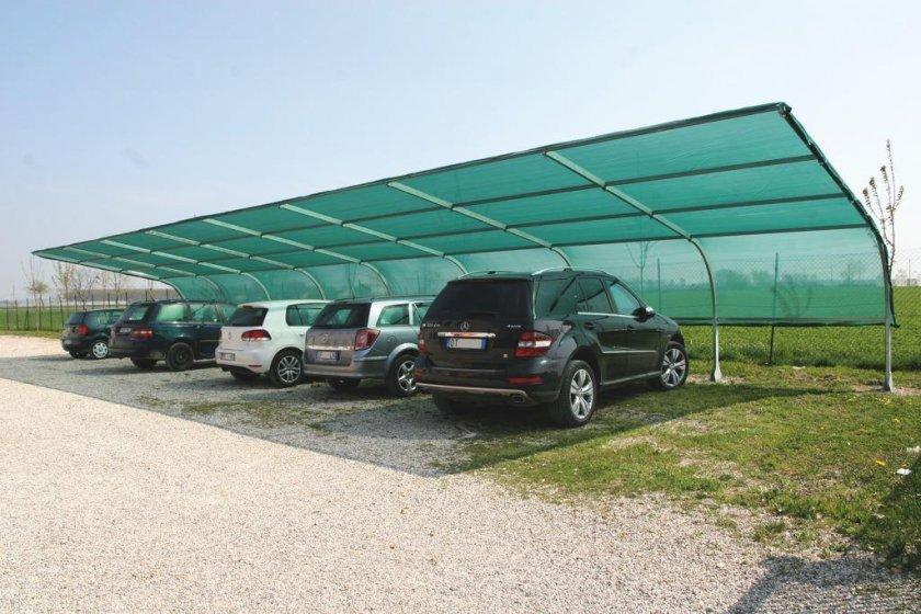 Навес из солнцезащитной сетки для автомобилей