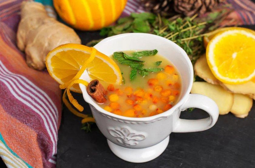 Чай с лимоном и облепихой