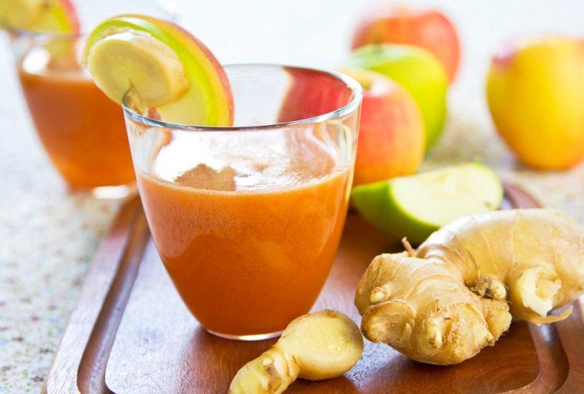 Имбирный коктейль с яблоками