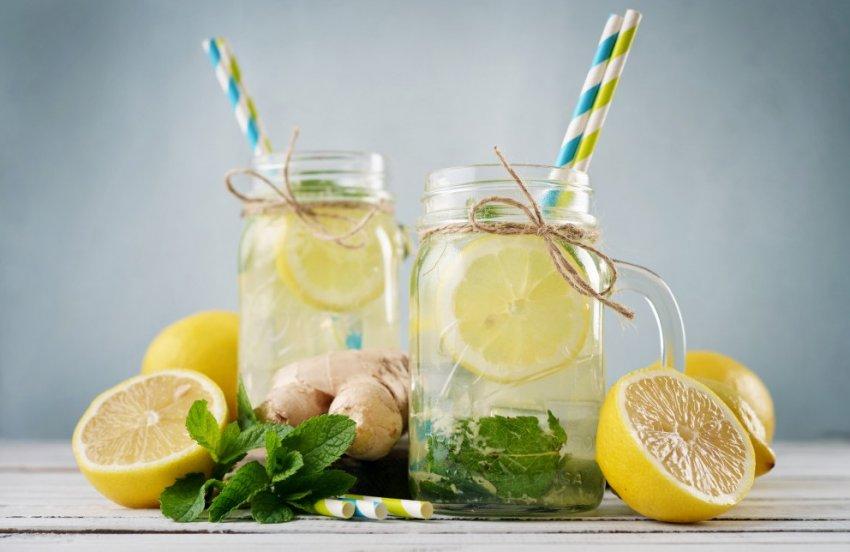 Имбирный коктейль с лимоном и мятой