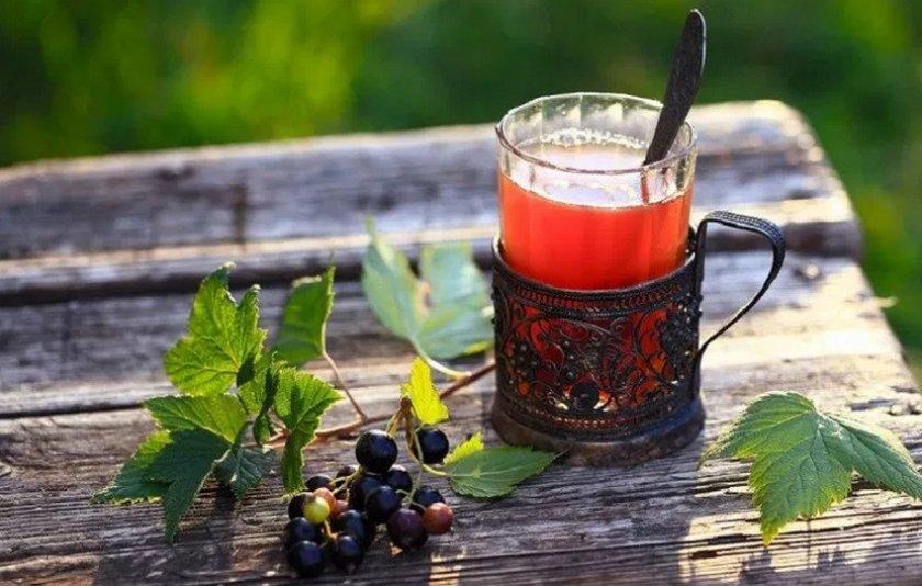 Чай из малины и смородины