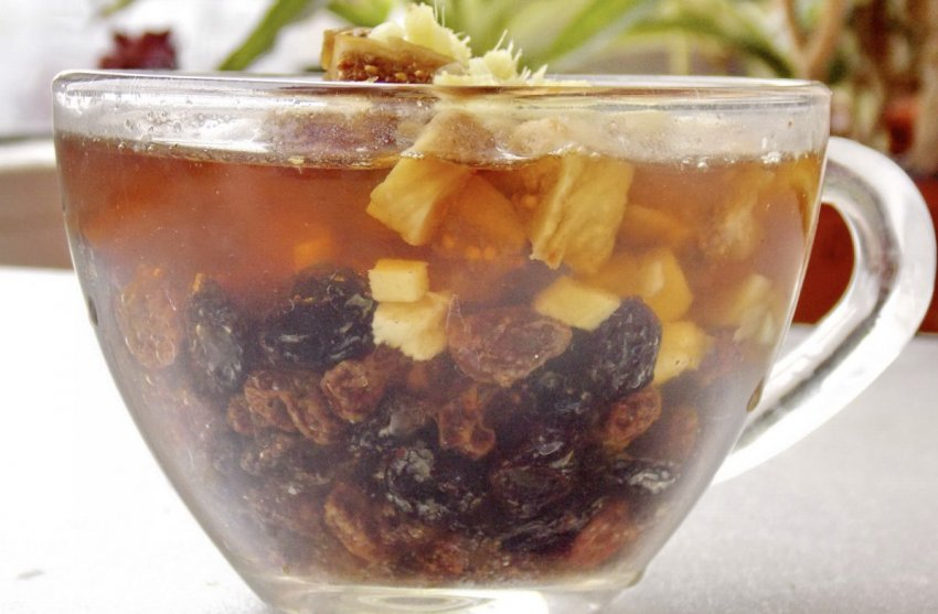 Имбирный чай с сухофруктами