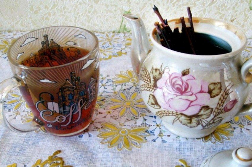 Чай с веток малины с мёдом