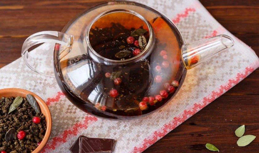 Чая из брусничного сбора