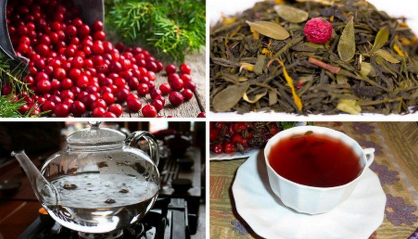 Чай с листьями и ягодами